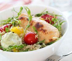 Recept: $Quornfilé med #quinoasallad och #avokadoyoghurt