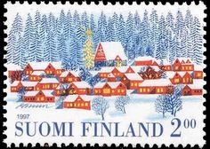 Joulupostimerkki 1997 1/3 - Talvinen kylämaisema