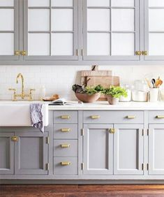 Brushed Gold Kitchen Hardware with brushed gold kitchen cabinet hardware, brushed gold kitchen hardware. Kitchen Dresser, Farmhouse Kitchen Cabinets, Kitchen Cabinet Design, Farmhouse Sinks, Craftsman Kitchen, Island Kitchen, White Farmhouse, Farmhouse Ideas, Kitchen Cupboards