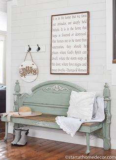 Welcome in the new spring season with some new decor for your entryway or porch. Take a look at my tutorial on how to turn a footboard into a bench!