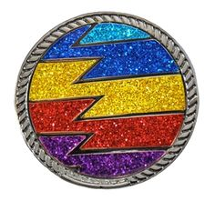 Loudmouth Golf Captain ThunderBolt Ball Marker with Crushed Crystal on Kicks Candy. Bright and bold ball markers for your shoes! Match your Loudmouth golf apparel with your accessories. Mark your spot in a storm of style!