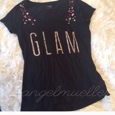 """Glam Express jeweled black tee This basic black tee is amped up with red, pink, purple, white, and cream jewels on the front and glam splayed across the chest. Super cute! Like new. Length: 25.5"""", bust: 19"""", sleeve length: 5"""". Express Tops Tees - Short Sleeve"""