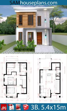 Townhouse Floor Plan Discover House Plans with 3 Bedroom - Sam House Plans House Plans with 3 Bedroom - Sam House Plans Small Modern House Plans, Narrow House Plans, 3d House Plans, Model House Plan, Duplex House Plans, Bungalow House Plans, Family House Plans, Dream House Plans, Two Story House Design