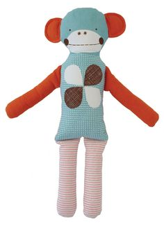 """Adorable and cuddly, the vintage-inspired Mr. Monkey doll modern makes the perfect companion for an adventurous little one. This linen-cotton canvas primate's unique look features embroidered accents, cheerful blue, red and brown shades and fun patterns to make it stand out in the toy chest. Stuffed with polyester fill. 5""""W x 19.5""""H."""