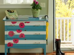 DIY Network has instructions on how to revive old furniture with paint and wrapping paper.