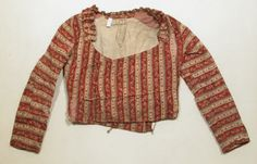Cotton and linen striped jacket, French, 1775-1825.