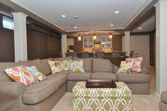 Narrow family room family room decorating and room for Long narrow basement design solution