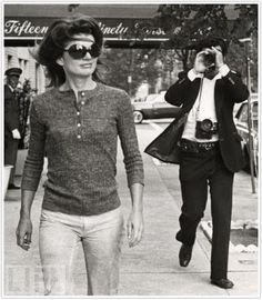 Jackie O being photographed by the original NYC Papparazzi Ron Galella - if you want to see a good documentary look for Smash His Camera - he's taken some of the most Iconic Photo's of our time.