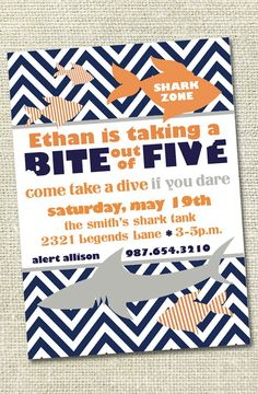 Shark Birthday Party Invitation - Double-Sided 5x7. $12.00, via Etsy.