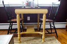 Mustard, painted desk, painted table, vintage modern, distress painted, painted furniture, ASCP, Arles, vintage modern