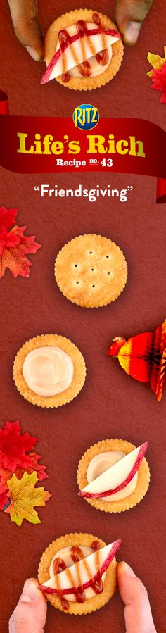 Break out the cookware, the fall décor, and hot cider recipes, it's time for Friendsgiving! This year, bring family and friends from far and near together around a holiday platter of Sweet & Salty Dulce de Leche Toppers. Follow this simple recipe! 1. Combine cream cheese, caramel spread & whipped topping 2. Spread the mixture onto RITZ Crackers & top w/ apple slices 3. Drizzle warm caramel mixture on top for the sweet-est Friendsgiving ever!