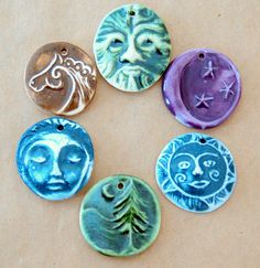 6 Handmade Ceramic Beads  Celtic assortment for by beadfreaky, $12.75