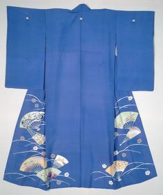 woman's summer robe (hitoe), 1920's, Silk (blue) | Silver Flat Paper Thread | Silver Wrapped Thread, IMA