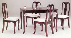 5pc Dining Table & Chairs Set Cherry Finish