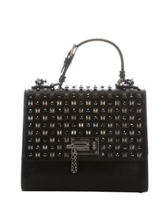 Dolce & Gabbana black leather embellished 'Monica' top handle bag