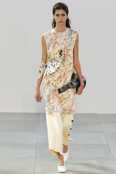 Celine Spring Summer SS'15 RTW ● Sleeveless Tunic Dress with Side Strip in Wild Flower Printed Satin,  Boot Leg Trousers in Vanilla Wool Crepe, Curved Clutch in Black Stamped Crocodile Calfskin, Snake Necklace in Black Painted Brass and Silk, Soft Ballerina Pump in Optic White Nappa Lambskin