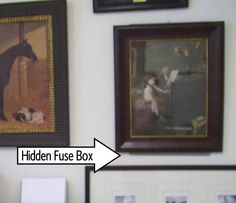 This is my tiny studio apartment.  This artwork is actually on the back wall of the kitchen and near the studio apartment front door.  Behind the door was a large gray fusebox that I found unsightly, so viola! covered it with the antique art.  The fusebox is available so it is a practical solution to an unsightly object.