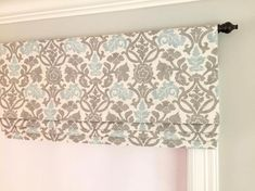 Items similar to SALE! Wide x Long Only. Cream, Blue and Grey. on Etsy Springs Window Fashions, Valances For Living Room, Bedroom Valances, Swatch, Faux Roman Shades, Custom Window Treatments, Custom Windows, Window Styles, Roman Blinds
