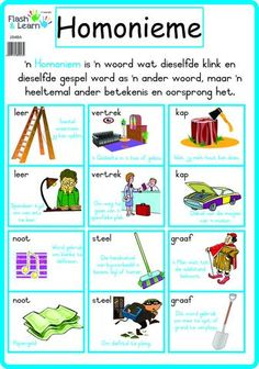 Homonieme School Posters, Classroom Posters, Life Hacks For School, School Fun, Afrikaans Language, Phonics Chart, Learn Dutch, Dutch Language, Teachers Aide