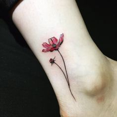 Floral Tattoo Design on Ankle by Hongdam