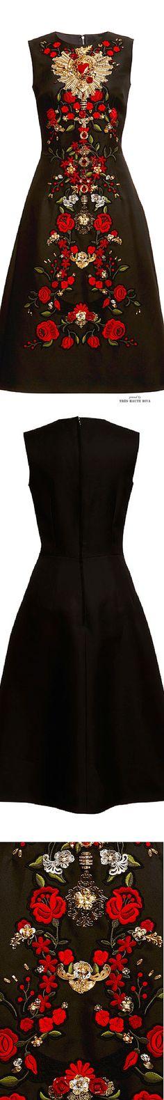 Dolce & Gabbana Sleeveless Gazar Embellished A-Line Dress SS 2015