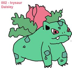 Day 2 #002. My attempt at drawing Ivysaur in Paint.