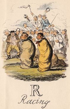 """""""R: Racing"""" from """"A Comic Alphabet"""" by George Cruikshank (1836)"""