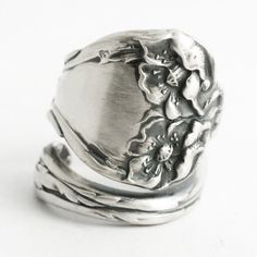 Art Nouveau Poppy Ring Sterling Silver Spoon Ring by by Spoonier