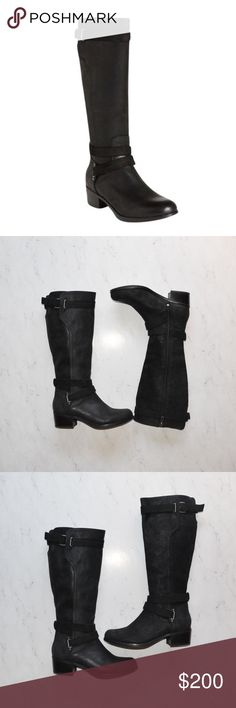 "UGG Australia Darcie Riding Boot Size 6 Black This is an UGG Australia Darcie Riding Boot • Size: 6 • Color: Black • Brand New • Not in Box • MSRP $295 • Leather Riding Boot • Suede straps wrap the ankle and calf • Mixed media design • Round toe • Crisscross strap detail • Buckle strap closure • Side zip closure • Approx. 14.5"" shaft height, 15.75"" opening circumference • Approx. 1.75"" heel • UGG Shoes Heeled Boots"
