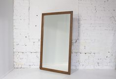 Large Mid Century flat edge Mirror - Walnut