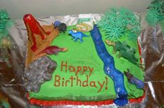 For my son's 5th birthday party, he wanted a dinosaur theme, so off to work I went. The cake was so much fun and soo easy to do! I simply took a 13x5 cake