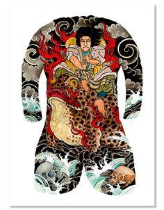 Beyond Tradition - Highest Quality Premium Tattoo Art Prints Chest And Back Tattoo, Back Piece Tattoo, Demon Tattoo, Samurai Tattoo, Japanese Tattoo Art, Japanese Tattoo Designs, Japanese Mythical Creatures, Tattoo Tradicional, Vintage Mermaid
