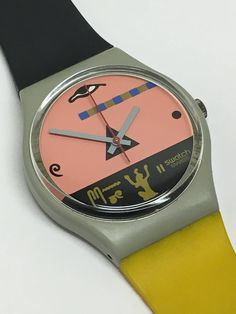 Vintage Swatch Watch Osiris GM102 1986 Egyptian Yellow Grey Pink by ThatIsSoFunny on Etsy