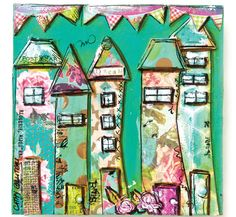 These colorful, little block houses by Cathy Bluteau are featured inside the Spring 2016 issue of Somerset Apprentice. https://stampington.com/somerset-apprentice/Somerset-Apprentice-Spring-2016