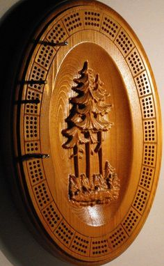 Cribbage Board With Pine Trees by cassedywooddesigns on Etsy, $65.00