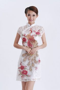 Periwing White lace Peacock & Peony Embroidery Sequins Pearl Cocktail Cheongsam - iDreamMart.com