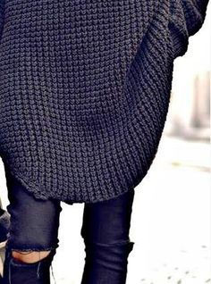 Oversized black sweater + ripped black jeans. So stylish and comfortable.