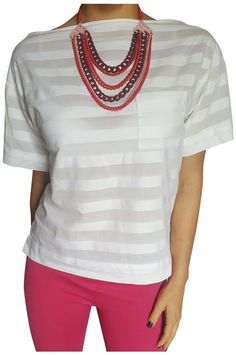 100% Cotton Top with Subtle White On White Stripes!