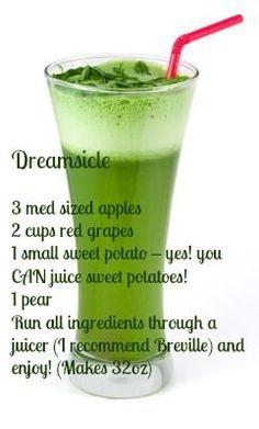 Dreamsicle juice - 3 apples, 2 C red grapes, 1 sweet potato, 1 pear (juicy juice) Healthy Juice Recipes, Juicer Recipes, Healthy Juices, Healthy Smoothies, Raw Food Recipes, Healthy Drinks, Green Smoothies, Ninja Recipes, Detox Juices