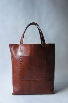 Large  Leather Tote  Rum  made to order by stitchandtickle on Etsy, $350.00