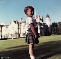 four-year-old Prince Andrew plays in the grounds of Balmoral Castle during a visit in 1964