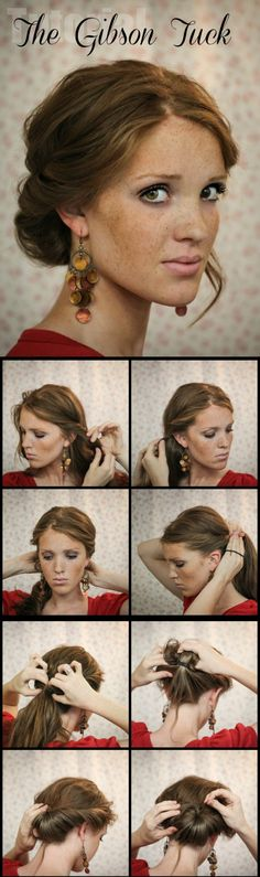 The Gibson Tuck – DIY Step By Step Hair Tutorial A quick and easy holiday undo. Would have to make it looser for curls. The Gibson Tuck – DIY Step By Step Hair Tutorial - I like the earrings too My Hairstyle, Pretty Hairstyles, Wedding Hairstyles, Natural Hairstyles, Makeup Hairstyle, Diy Party Hairstyles, Hairstyle Ideas, Classy Updo Hairstyles, 5 Minute Hairstyles