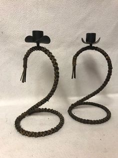 Country Western Home Decor Candle Holders Cowboy hat and rope #Unbranded #Western