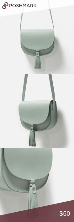Zara Leather Purse - Mint Brand New / Never Used. Very sleek purse in hard to find mint color. Magnet closure with tassel detailing. Adjustable shoulder strap. 100% Buffalo leather **Purchased from a fellow Posher and ended up never using it - selling for lower price** Zara Bags Crossbody Bags