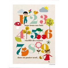"""Affiche vintage """"1,2,3 cerises"""", chaises, cartable, tablier..."""