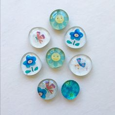 Colorful Handmade Magnets Glass disc, heavy duty magnet. Set of 8. Adds whimsy to your fridge or filing cabinet. Sweet and surely gift worthy.❤️ Handmade Other