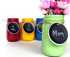 DIY Recycled Mason Jars into Colorful Spring Flower Vases with Chalkboard Tags
