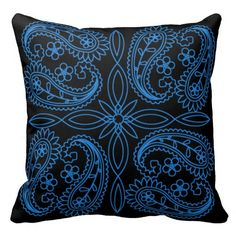 Black & Blue Floral Paisley Pattern Throw Pillow | Available in White, Purple, Blue, Red, & Pink