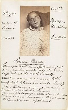 """An insane asylum patient restrained by warders, Yorkshire, 1869, Henry Clarke. I can barely make out the writing, but says """"Thought the S_[sir?] very unkind in not coming earlier as she had 21 babs (babes?)& to do all the work herself. Said her nurse was going to the hospital to have her water let off & her kidneys cut out. Asked for a knife & rope to destroy herself. Uses very bad language & almost too weak to move, swears at everyone. The a__was taken after 40 yrs of C___. """"  So sad"""