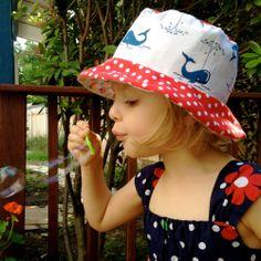 Toddler Girl's Bucket Sun Hat, Summer Beach Wear, Red White and Blue. $21.00, via Etsy.